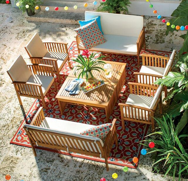 Bàn ghế gỗ ngoài trời gỗ keo rộng rãi