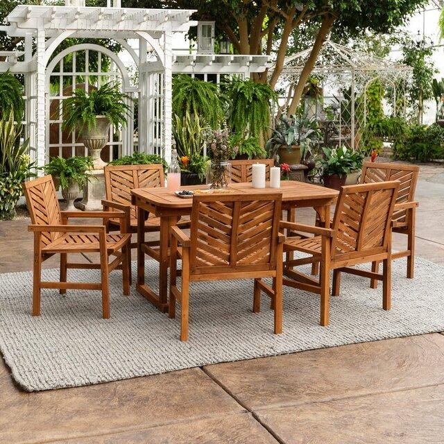 Bộ bàn 6 ghế ngoài trời bằng gỗ