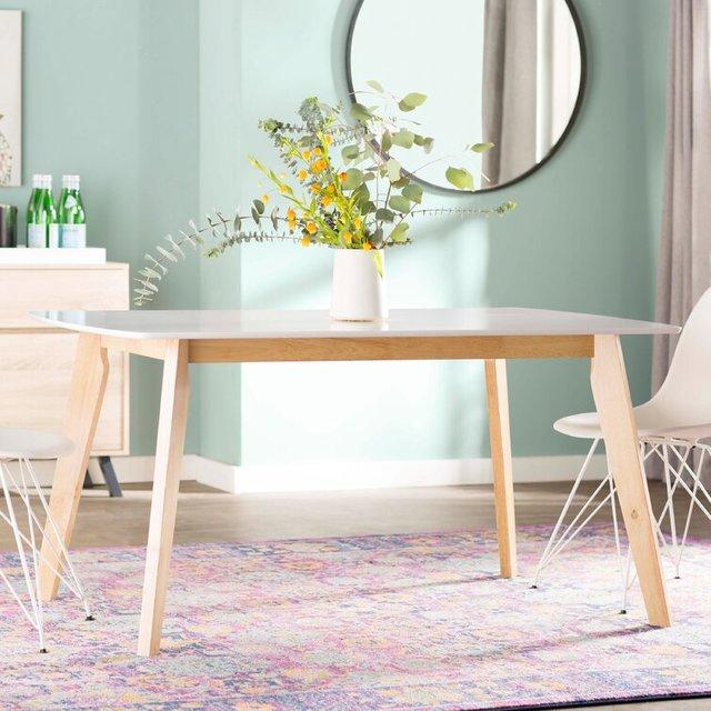 Bộ bàn ăn 6 ghế mặt bàn trắng