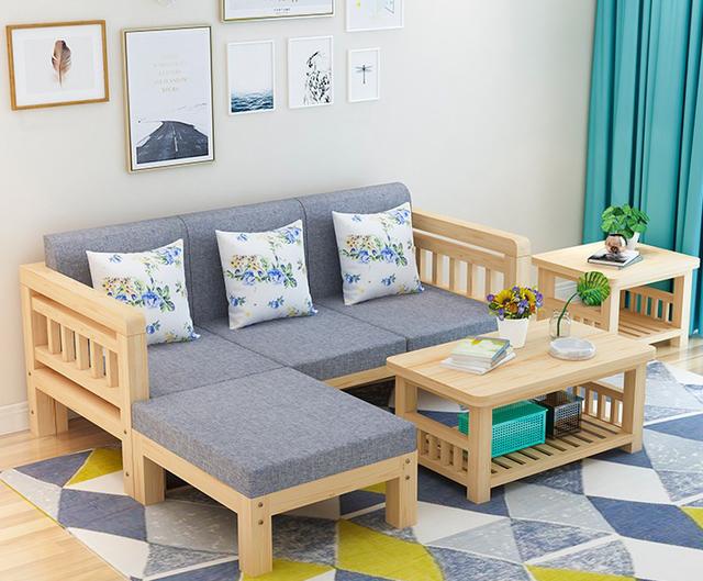 Bộ bàn ghế gỗ cao su phòng khách thanh lịch