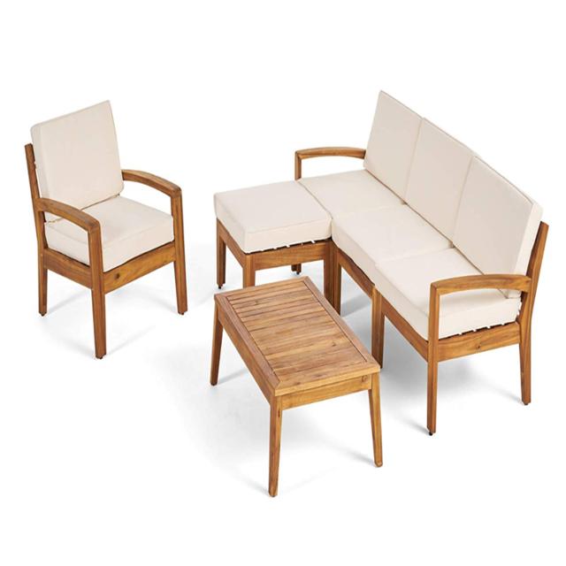 Bàn ghế phòng khách bằng gỗ tếch, phong cách Metropolitan