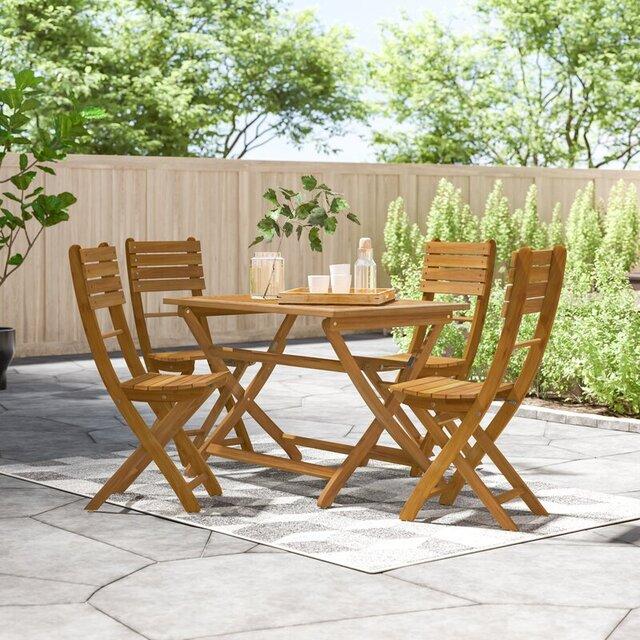 Bộ bàn ghế xếp ngoài trời bằng gỗ tinh tế