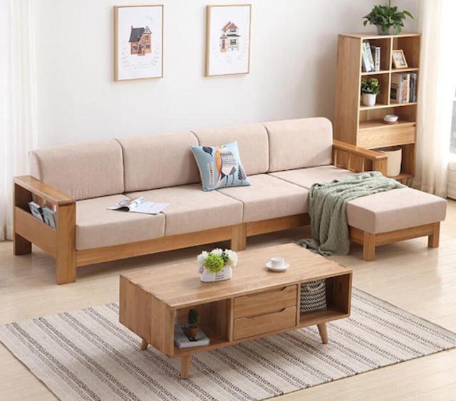 Bàn ghế gỗ phòng khách chữ L