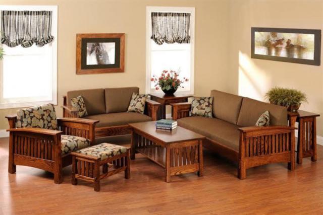 Bộ bàn ghế gỗ phòng khách 5 món đơn giản