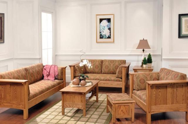 Bộ bàn ghế gỗ phòng khách 5 món