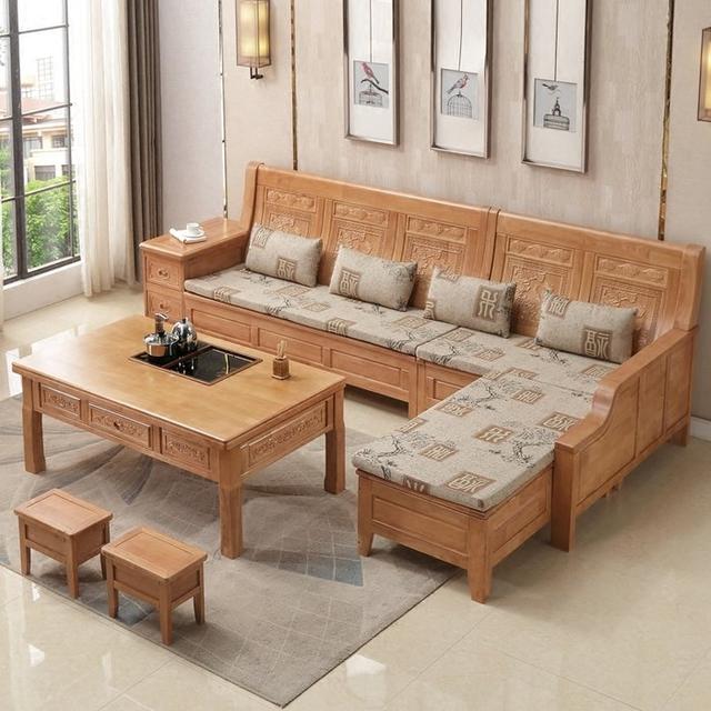 Bộ bàn ghế gỗ phòng khách chạm hoa văn cổ điển
