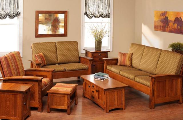 Bộ bàn ghế gỗ phòng khách gỗ tự nhiên, phong cách cổ điển