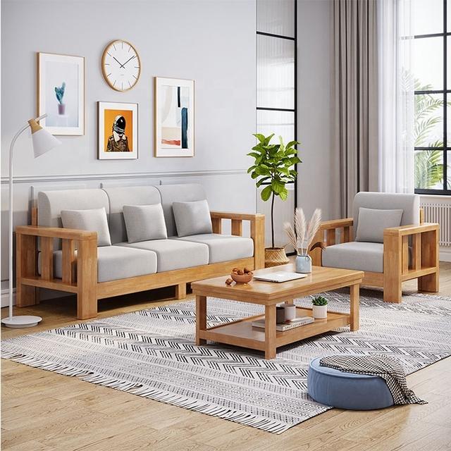 Bộ bàn ghế sofa gỗ phòng khách đơn giản, tay vịn lớn