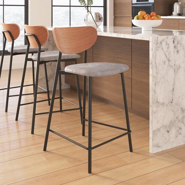 Ghế bar chân sắt cao có tựa lưng gỗ