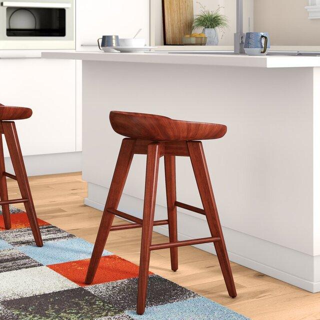 Ghế quầy bar xoay bằng gỗ không tựa