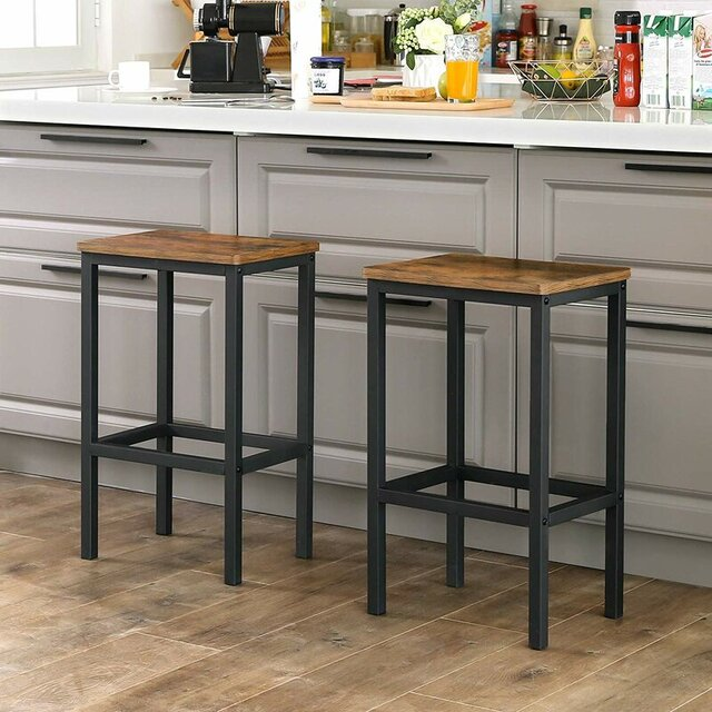 Mẫu ghế quầy bar vuông chân sắt mặt gỗ