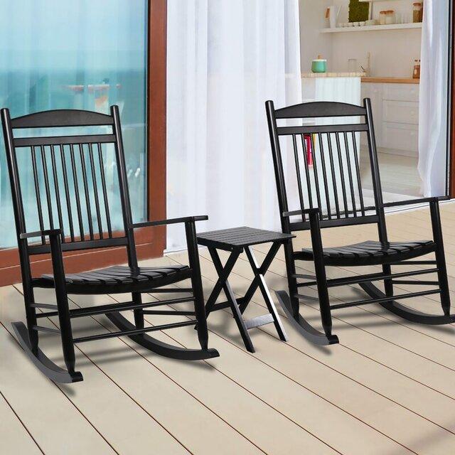 Bàn ghế ban công bập bênh 3 món màu đen