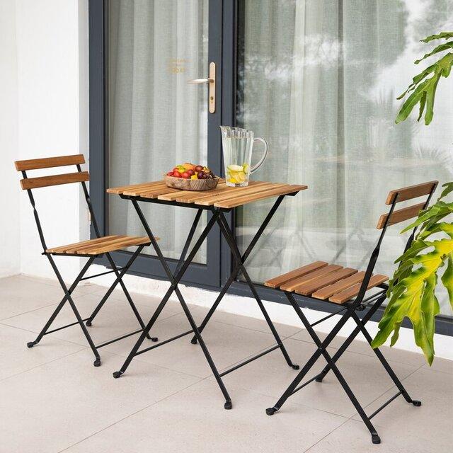 Bàn ghế ban công chung cư bằng gỗ keo, khung kim loại