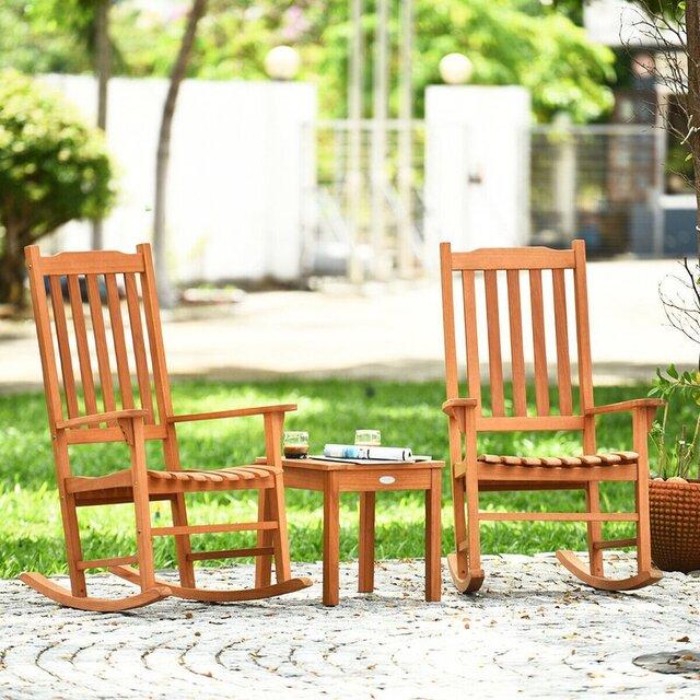 Bàn ghế ban công chung cư bập bênh bằng gỗ bạch đàn
