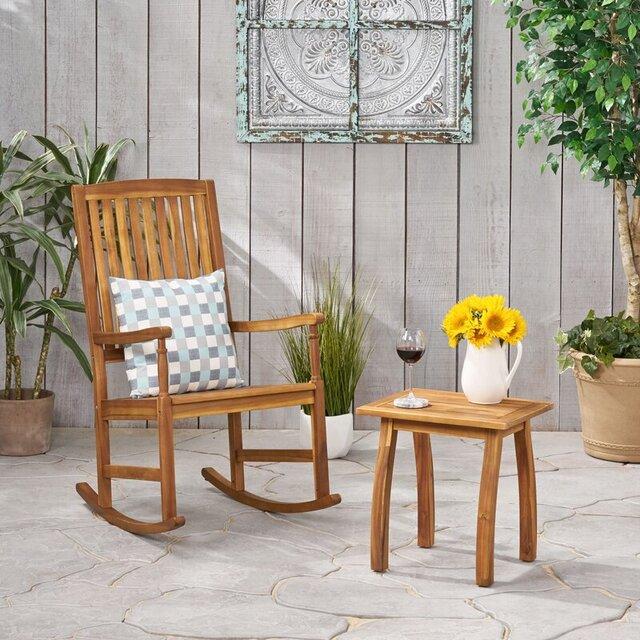 Bàn ghế ban công gỗ keo đơn giản