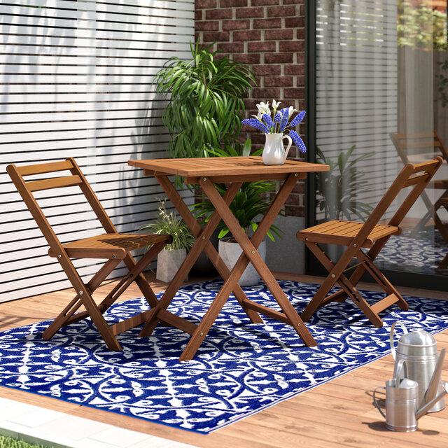 Bộ bàn ghế ban công chung cư bằng gỗ tự nhiên