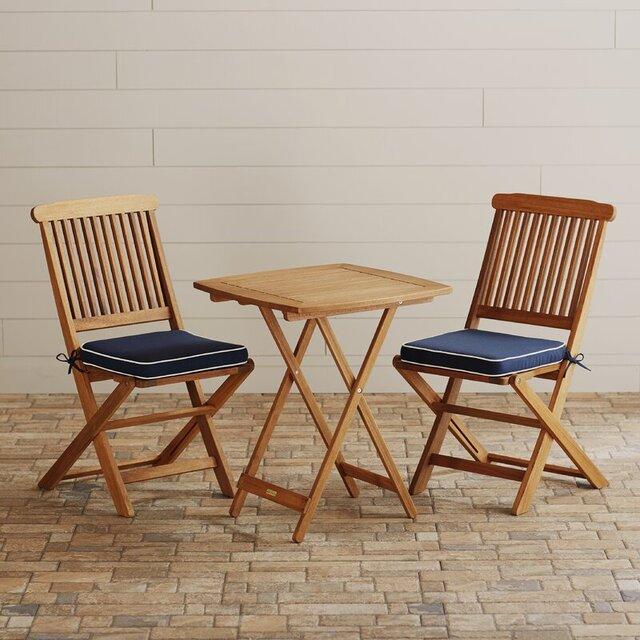 Bộ bàn ghế cafe ngoài trời gỗ bạch đàn gấp gọn 2 người ngồi