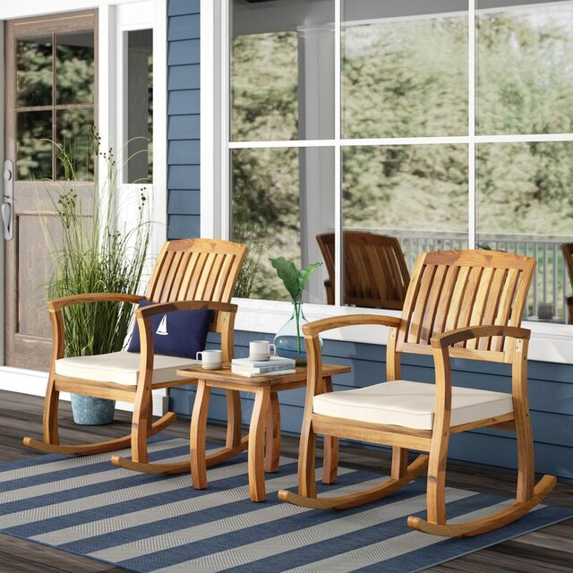 Bàn ghế bập bênh sân vườn bằng gỗ keo