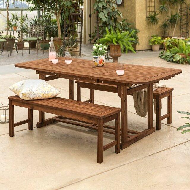 Bàn ghế gỗ keo sân vườn 3 món, 6 chỗ ngồi