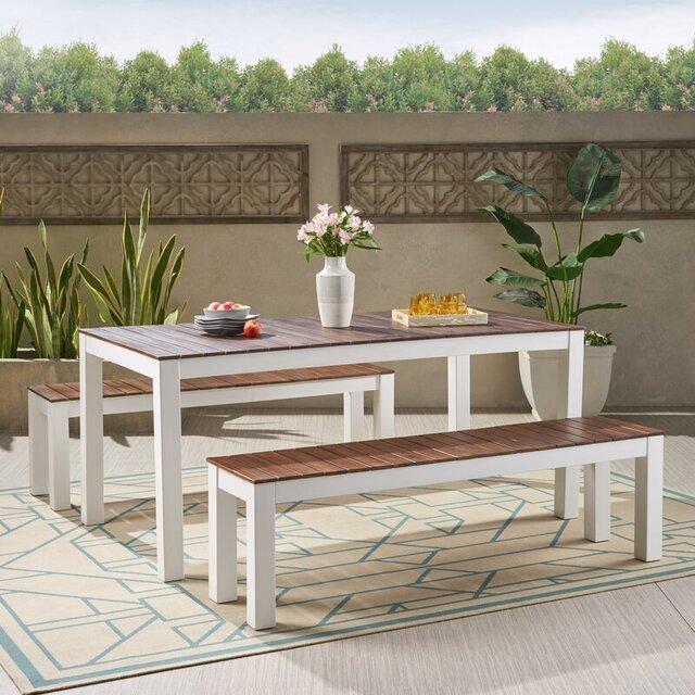 Bộ bàn ghế sân vườn giá rẻ bằng gỗ keo