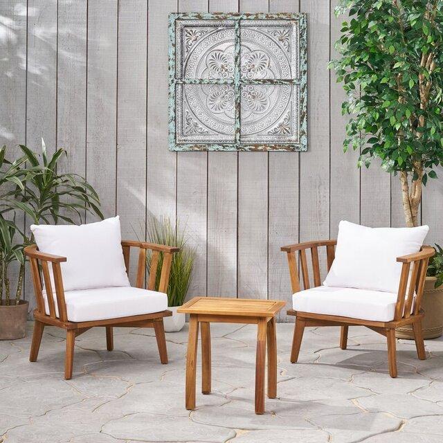 Bộ bàn ghế sân vườn thấp bằng gỗ keo phong cách hoài cổ