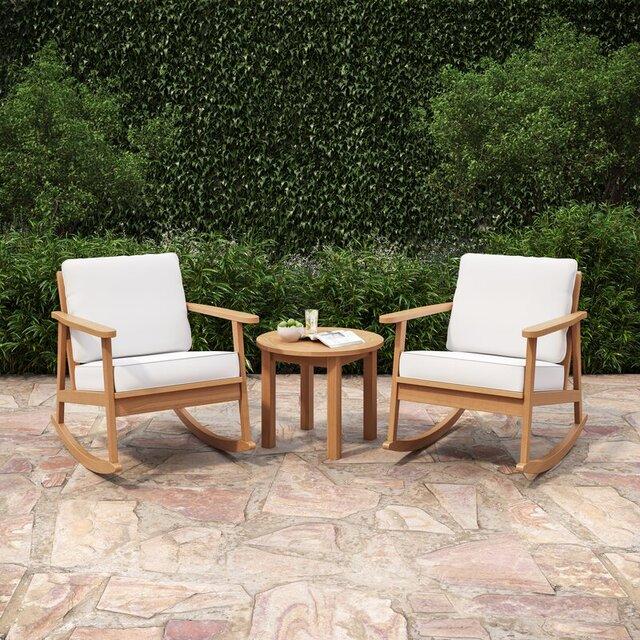 Ghế bập bênh kết hợp bàn tròn sân vườn